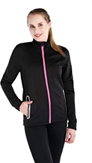 Dolcevida Women's Full Zip Long Sleeves Warm Running Top Stretchy Active Coat