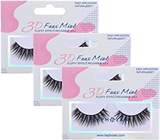 BEPHOLAN 3 Pairs False Eyelashes Synthetic Fiber Material| 3D Faux Mink Lashes| Natural Round Look| Reusable| 100% Handmade & Cruelty-Free| XMZ138