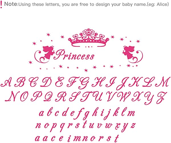 Decalmile Personalized Custom Name Wall Decals Princess Wall Stickers Vinyl Wall Art For Girls Bedroom Kids Nursery Baby Room
