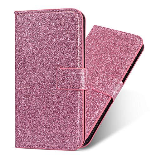 Capa carteira XYX Galaxy S7 Edge, capa carteira para Galaxy S7 Edge, design de cor lisa com glitter, capa de telefone carteira de couro PU para meninas e mulheres para Samsung Galaxy S7 Edge (rosa)