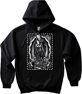 Virgin Mary Hoodie Pullover Sweatshirt Guadalupe Mexican Chicano Art Aztec Cholo
