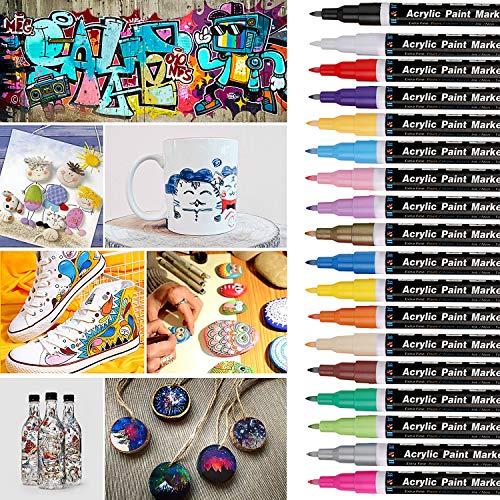 Kelisidunaec Steine Bemalen Stifte Set, 18 Farben 0,7 mm Acrylstifte Marker Stifte für Glas, Keramik, Stoff, Porzellan, Holz, Leinwand, Steinmalerei und DIY-Tassen, Acrylfarben Stifte
