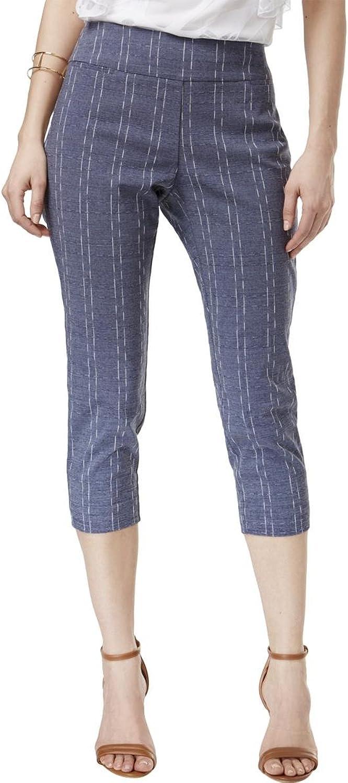 Alfani Womens Tummy Control Dash Striped Capri Pants