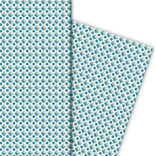 Kartenkaufrausch Cultiges Retro cadeaupapierset voor leuke cadeauverpakkingen, blauw groen 4 vellen, 32 x 47,5 cm, decoratief papier, inpakpapier om te knutselen