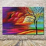 LEPOTN Cuadro Pintado a Mano Arte de la Pared árbol Paisaje Pinturas al óleo sobre Lienzo decoración del hogar para Sala de estar-60 * 90cm