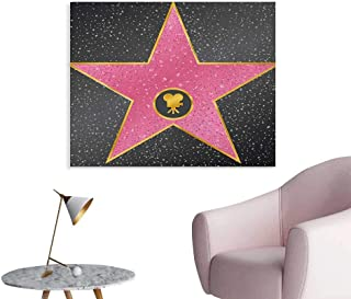 Anzhutwelve Popstar Party Mural Decoration Hollywood Walk of Fame Symbol Celebrity Entertainment Culture Art Poster Charcoal Grey Pale Pink W32 xL24