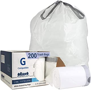 Plasticplace Custom Fit Trash Bags │ Simplehuman Code G Compatible (200Count) │ White Drawstring Garbage Liners 8 gallon/ ...