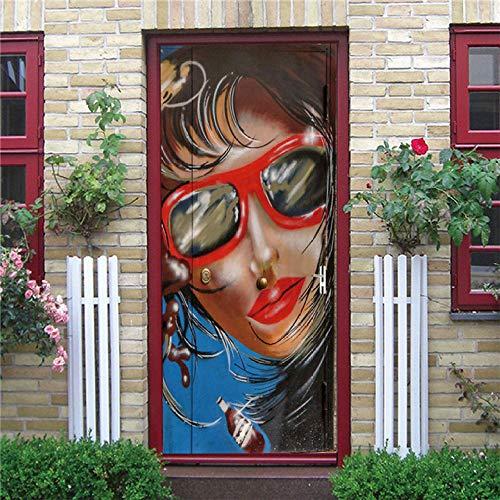 Vinilos Para Puertas 77X200Cm Dama Con Gafas Vinilo Puerta 3D Pegatinas Para La Renovación De La Puerta Arte Mural Etiqueta Carteles Pegatinas De Pared Diy Decoraciones