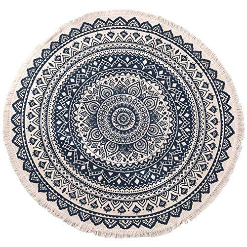 Jcevium Alfombras redondas de algodón de estilo bohemio, lavables, antideslizantes, para salón, baño, dormitorio, 90 cm