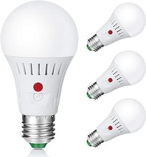 Elrigs Bombilla LED con sensor de luz diurna ajustable, bombilla con sensor de luz E27, sensor crepuscular ajustable, 7 W equivalentes a 60 W, luz blanca cálida (3000 K), 4 unidades