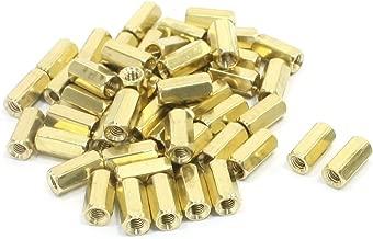 Uxcell a14050600ux1057 50 Piece M3 x 10 mm Female Thread Brass Pillar Hexagon Nut Standoff Spacer