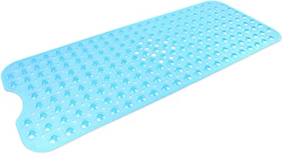 "DII Anti-Slip Non Slip Allergen-Free Extra-Long Mildew Resistent Vinyl Shower, Bathtub Mat 15.75x39"" with Safety Grip Suct..."