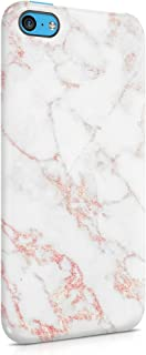 White & Raspberry Pink Strips Marble Print Hard Plastic Phone Case for iPhone 5c