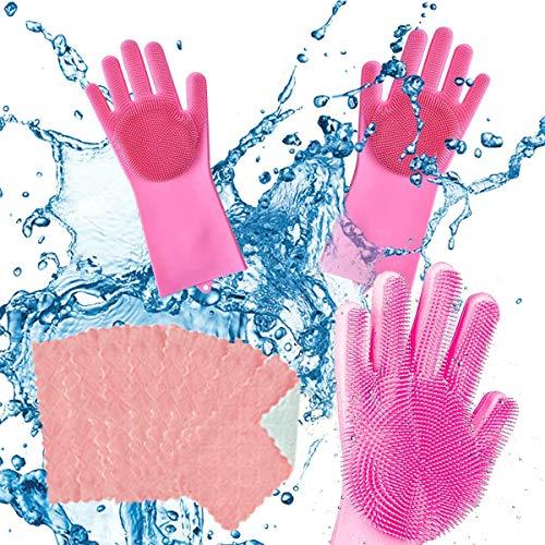 CHENKEE Guantes de Silicona Mágicos, 1 par Guantes de Limpieza mágicos Reutilizables Lavar Platos Cepillo Guante de Goma para Cocina Lavar Platos Baño Limpia Coche Lavado de Autos
