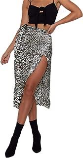 Pretty.auto Vestido de Fiesta con Estampado de Leopardo y Falda Mediana y Cintura Alta, con Nudos