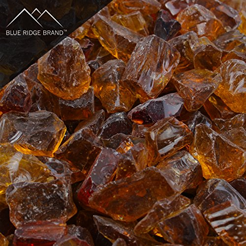 Blue Ridge Brand Light Amber Fire Glass - 20-Pound Professional Grade Fire Pit Glass - 1/2' Glass Rocks for Fire Pit and Landscaping