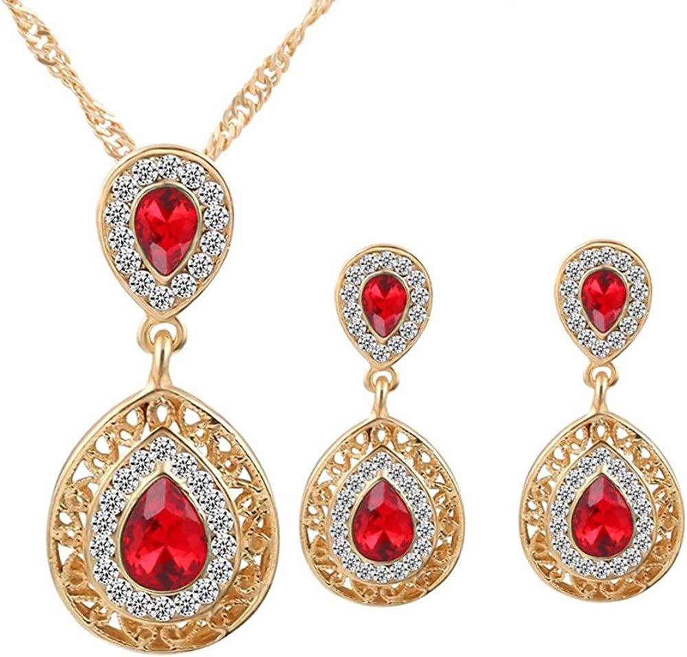 Tcplyn Premium Quality Gold Plated Crystal Necklace Earrings Wedding sets For Women's Bohemian Jewelry set Red