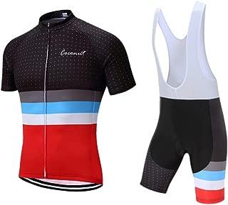 Men's Cycling Jersey Set Road Bike Jersye Short Sleeves Cycling Kits + Bib Shorts with 3D Padded