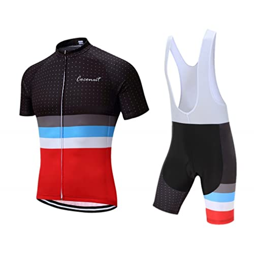Men s Cycling Jersey Set Road Bike Jersye Short Sleeves Cycling Kits + Bib  Shorts with 3D 9b3bc7a22