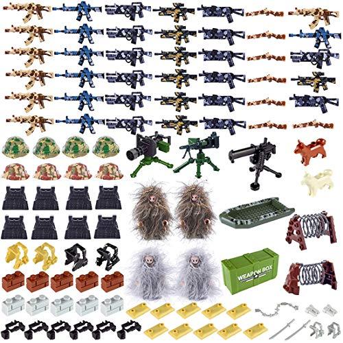 NURICH Helm + Weste + Custom Waffen Set für Soldaten Mini Figuren SWAT Team Polizei, passen zum Lego