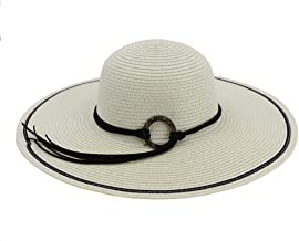 2019 Women Womens Collapsible Sun Hat Wide-Brimmed Beach Straw Hat for Women Adjustable Holiday Crochet Hat Summer As A Sign Cool Cushion Shade The Sun (Color : White, Size : 56-58CM)