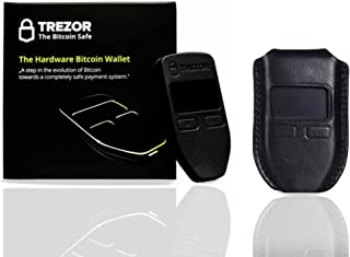 Trezor Black Hardware wallet with CryptoHWwallet Premium Black Protective Leather case Gift set in retail box with dust bag