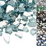 QuliMetal 1/2 Inch Fire Glass, Aqua Blue High Luster Reflective Tempered Glass Rocks for I...