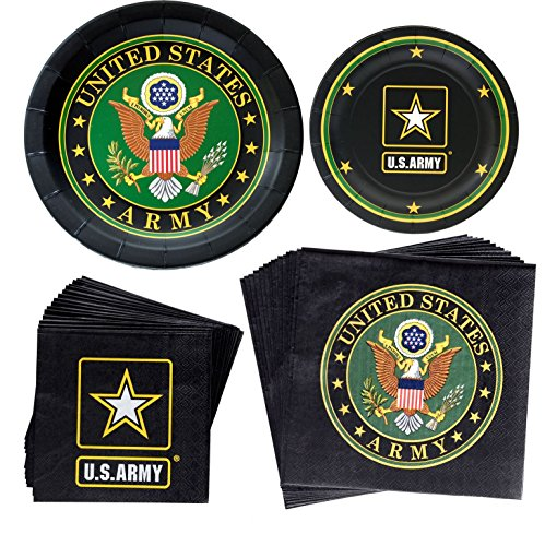 US Army Party Supplies   Bundle Includes Officially Licensed U.S. Army Paper Plates and Napkins for 8 People  