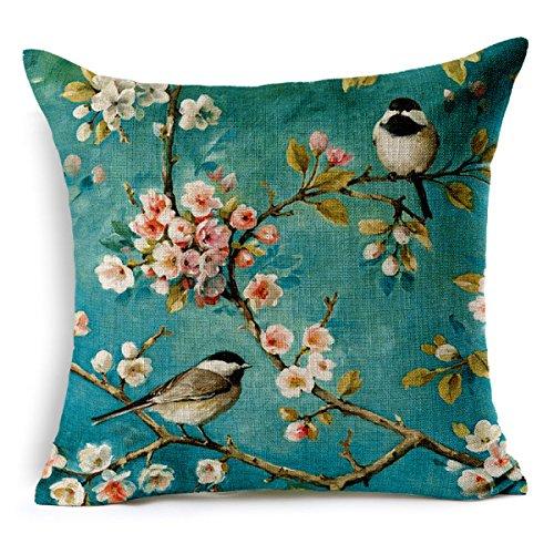 Jiu Bu Peinture à l'huile Peinte à La Main Fleur De Cerisier Oiseau 18 * 18 Pouces Coton Oreiller De Sofa Couverture De Coussin De Voiture,A-18 * 18Inches