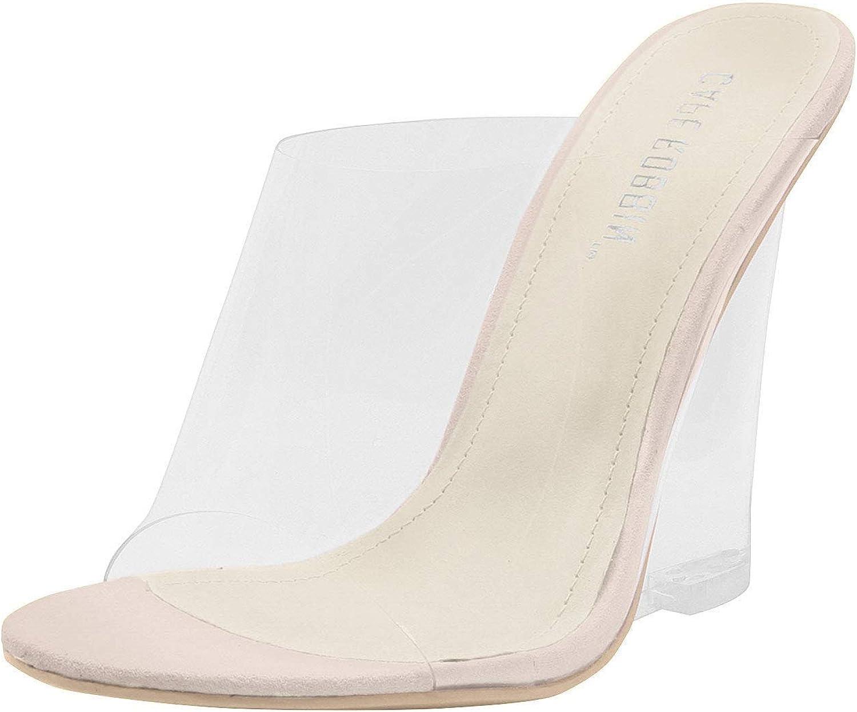 Cape Robbin Lemonade Clear Chunky Block Wedge Heels for Women, Transparent Open Toe Shoes Heels for Women - Nude Size 8.5