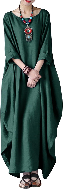 Celmia Autumn Solid Loose Long Maxi Dress Cotton Caftan