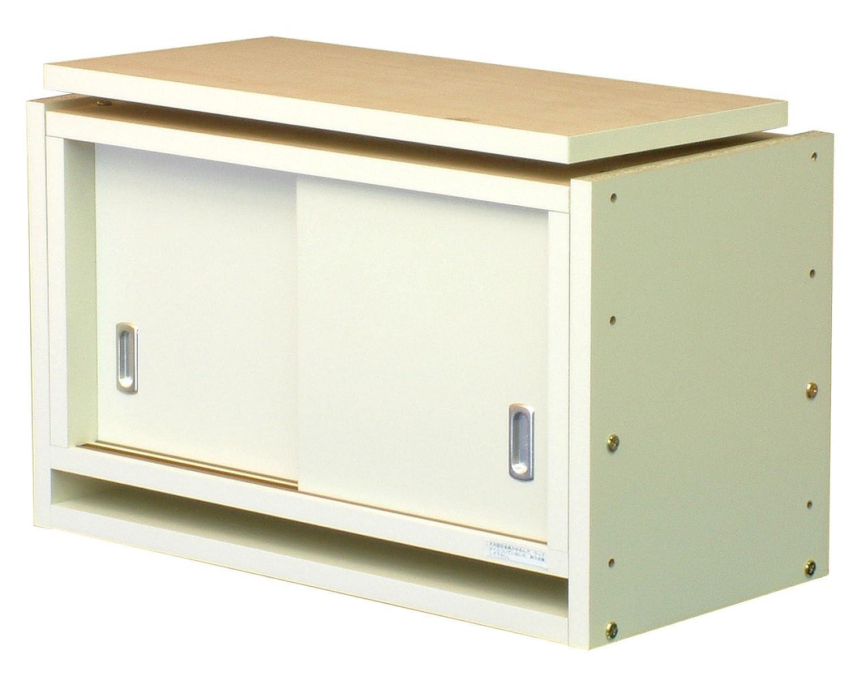 冷蔵庫用 転倒防止 つっぱり棚 耐震収納 上置き 冷蔵庫上 幅58cm カラー:ホワイト