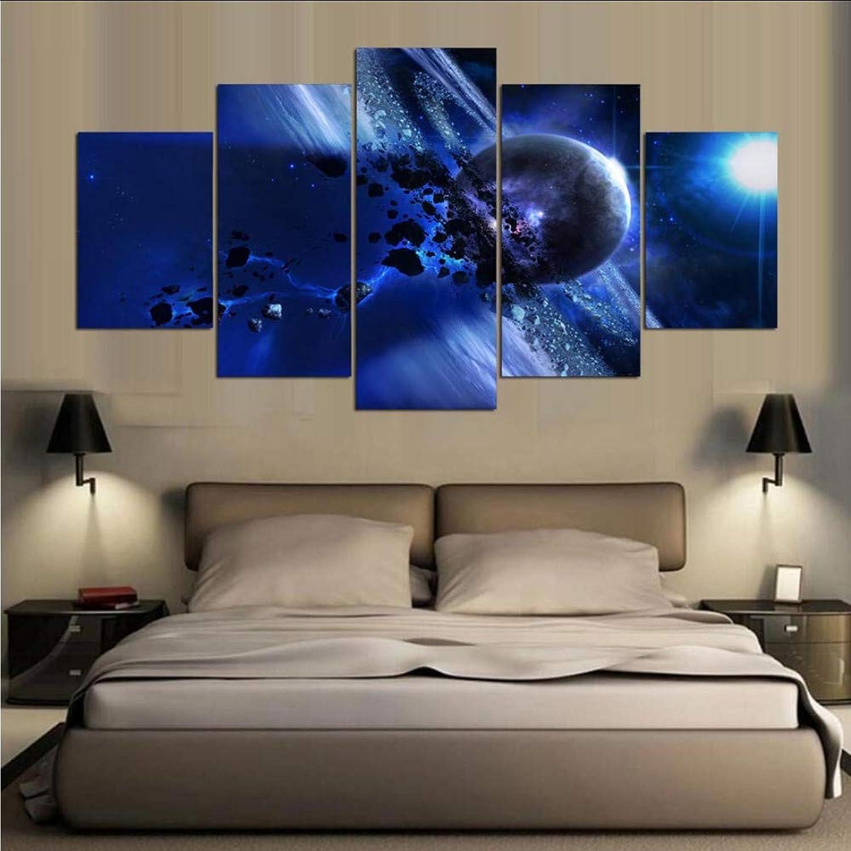 Ljtao Imagen Modular Decoración para El Hogar Marco De Pintura De Lona 5 Paneles Hermoso Planeta Mejor Calificado Imagen De Parojo para Sala De Estar Pintura-20Cmx35 45 55Cm-Frame