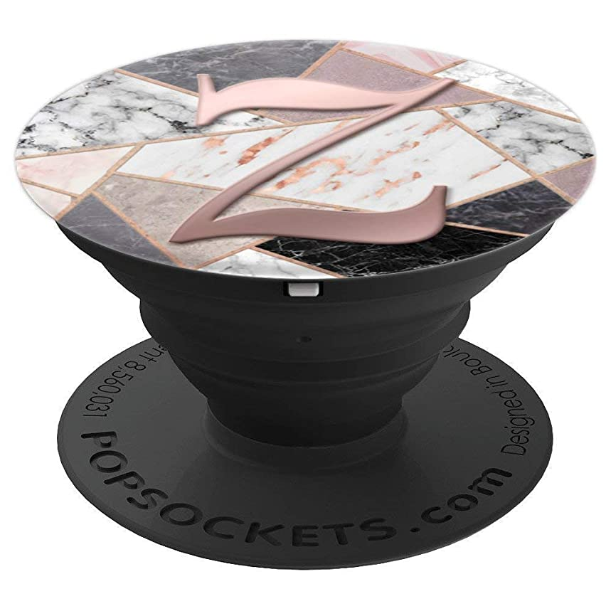 Rose Gold Letter Z Pop Socket Black Marble Pink Gray White - PopSockets Grip and Stand for Phones and Tablets