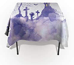 60 x 104 Inch Rectangle Tablecloth - Happy Halloween Purple Castle Rectangular Polyester Table Cloth Table Covers Linen Decor - Great for Kitchen Table, Parties, Holiday Dinner, Wedding & More