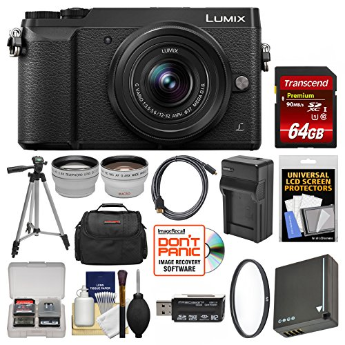 Panasonic Lumix DMC-GX85 4K Wi-Fi Digital Camera & 12-32mm Lens (Black) with 64GB Card + Case + Battery & Charger + Tripod + Tele/Wide Lens Kit