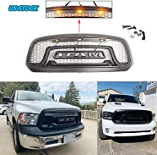 ASPEIKE Replacement Rebel Style Grille for 2013-2018 Dodge Ram 1500 and RAM 1500 Big Horn Honeycomb Grill With 3 Amber LED lights, R&A&M Letters, More Cool Appearance, BLACK