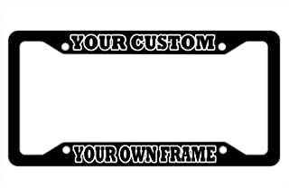 DZGlobal Custom License Plate Frame Black Personalized Text Funny Metal Cute Auto Accessories Licence Plates Holder Car Tag Frames Aluminum 4 Holes 1 Frame for Men Women (Outline)