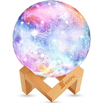 SEGOAL Moon Lamp Moon Light Kids Night Light Galaxy Lamp 16 Colors LED 5.9 Inch 3D Star Lamp with Wood Stand, Touch & Remote Control & USB Rechargeable Baby Light