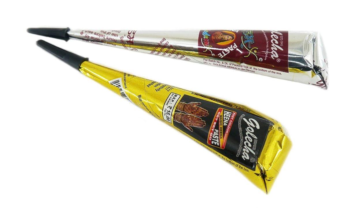 修正依存肝ヘナ タトゥー用 二色セット 一時的な刺青 ブラック オレンジ ヘナ タトゥーペースト 長持ち一週間 チューブタイプ henna タトゥーペン