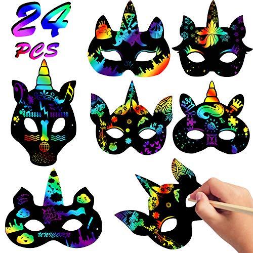 Vamei 24pcs Scratch Art Máscaras niños DIY Masks