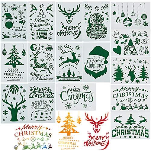 16 Blätter Schablonen Weihnachten (17.8 * 26cm) Groß Weihnachtsmotive Zeichenschablonen Malschablonen Weihnachtsschablonen aus Kunststoff für DIY Bullet Journal Album Scrapbooking Papier Karte Deko