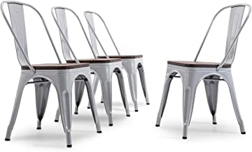 BELLEZE Metal Industrial Stackable Bistro Dining Chairs Set of 4 Wood Seat Cafe Bar Home Stool Modern Style Silver