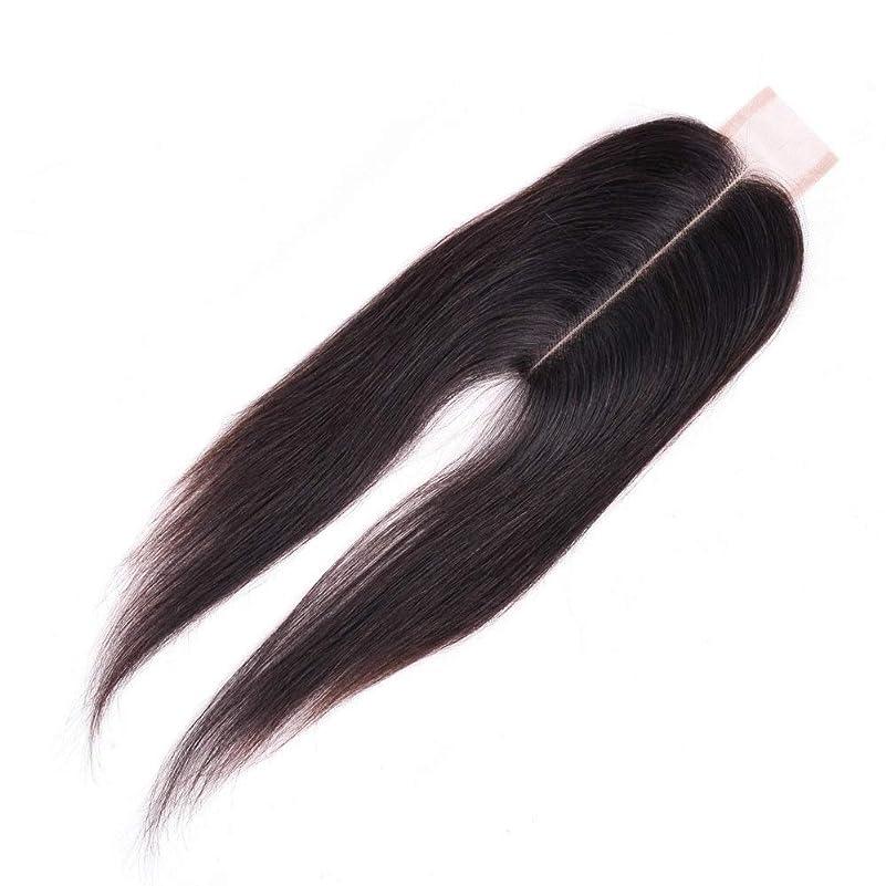 スイバラバラにする笑WASAIO ブラジル人のバージンの人間の毛髪の中間の部分のまっすぐなレースの閉鎖 (色 : 黒, サイズ : 14 inch)
