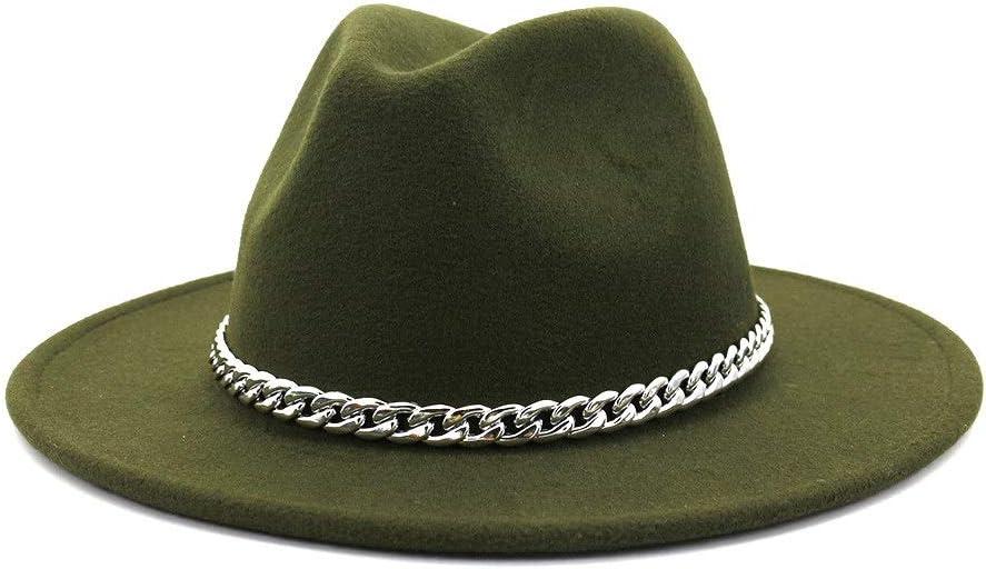 no-branded Wide Brim Fedora Hat Cotton Men's Ladies Metal Decorative Autumn Winter Panama Wool Felt Hat ZRZZUS (Color : Dark Green, Size : 59-60cm)