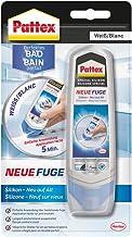 Pattex Perfecte badkamer nieuwe voeg, silicone afdichtmiddel voor nieuwe voegen in slechts één stap, voegenwit ter bescher...