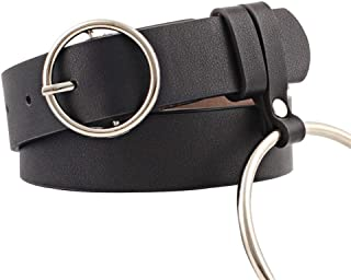 SGJFZD New Silver Big Ring Belt Women Trendy Wild Fashionable Lady Belt Round Buckle Belt Belt (Color : Black, Size : 110 * 3cm)