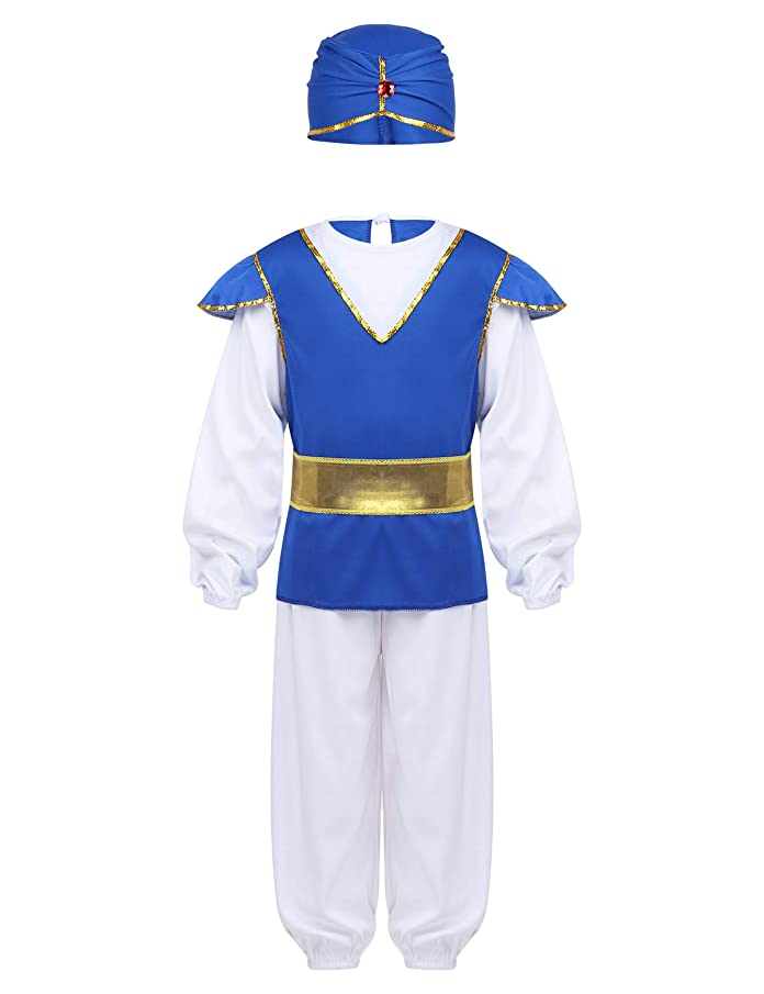 dPois Kids Boys' 4PCS Arabian Prince Halloween Cosplay Party Fancy Costume Long Sleeves T-Shirt with Harem Pants&Hat Belt
