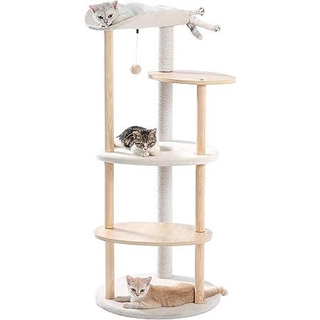 [Amazonブランド] Umi(ウミ) - キャットタワー ねこのおもちゃ 運動不足解消 おしゃれ シンプル 手触り 木製と融合 - ベージュ 124.5cm