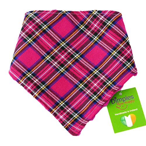 Dimples hondenhalsdoek - Schotse ruit roze - halsdoek voor kleine middelgrote en grote honden puppels en katten - hondenbezitter cadeau voor een verjaardag - handgemaakte hondenaccessoire, 40cm